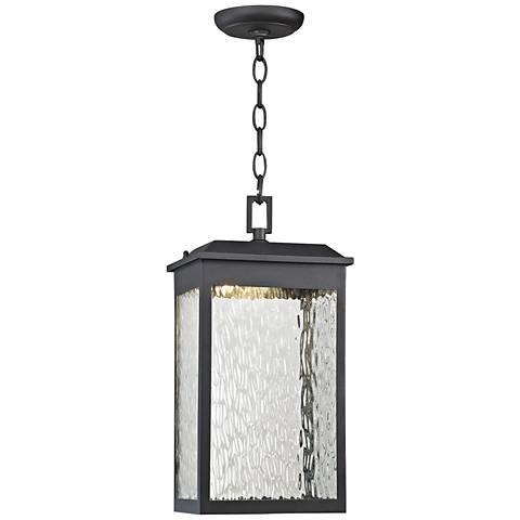 "Newcastle 16""H Matte Black LED Outdoor Hanging Light"
