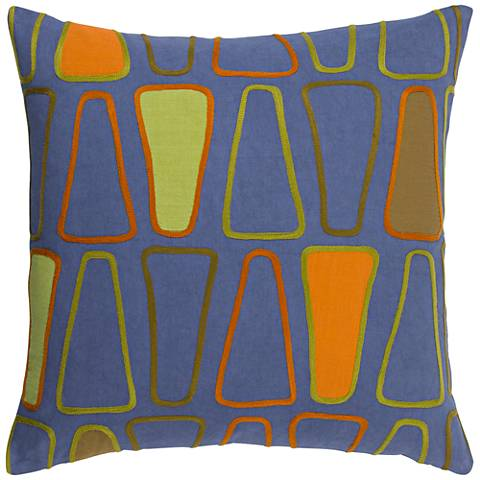 """Surya Charade Blue and Green 18"""" Square Throw Pillow"""