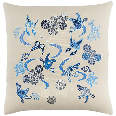 "Surya Chinese River Neutral 18"" Square Throw Pillow"