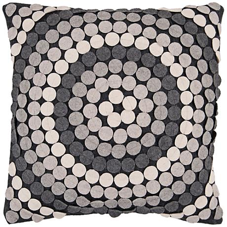 "Surya Halo Black and Gray 18"" Square Throw Pillow"