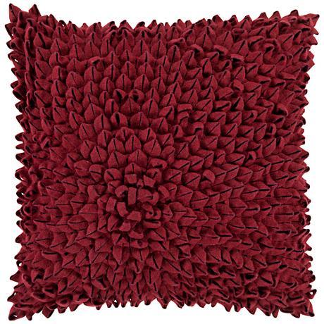 "Surya Dahlia Red 18"" Square Throw Pillow"