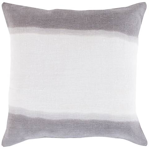 "Surya Double Dip Neutral and Gray 18"" Square Throw Pillow"
