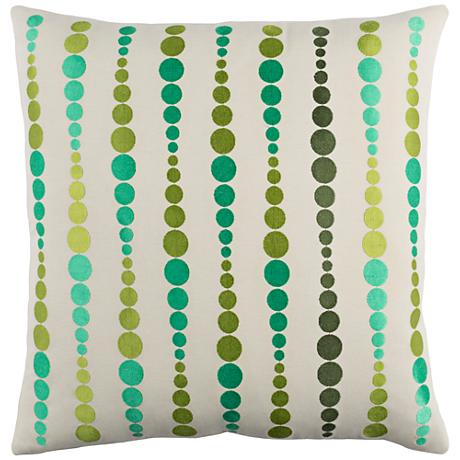 "Surya Dewdrop Green 18"" Square Throw Pillow"
