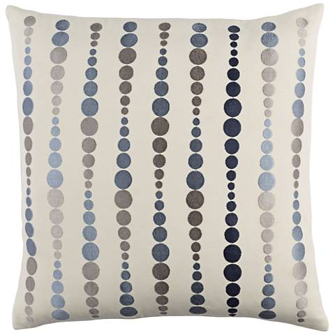 "Surya Dewdrop Blue and Gray 18"" Square Throw Pillow"