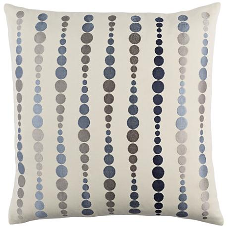 """Surya Dewdrop Blue and Gray 18"""" Square Throw Pillow"""