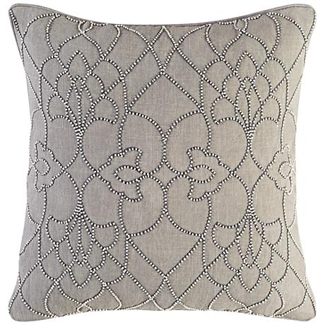 "Dotted Pirouette Gray 18"" Square Throw Pillow"