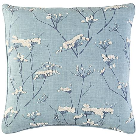 "Surya Enchanted Blue 18"" Square Throw Pillow"