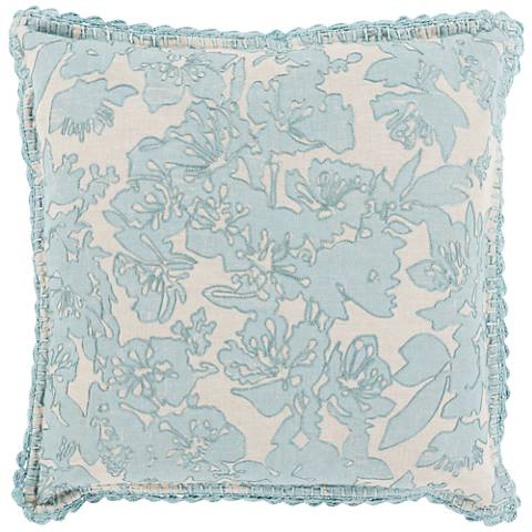 """Surya Evelyn Gray and Green 18"""" Square Throw Pillow"""