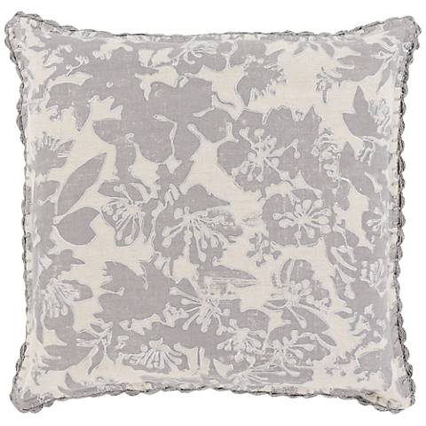 """Surya Evelyn Gray 18"""" Square Throw Pillow"""