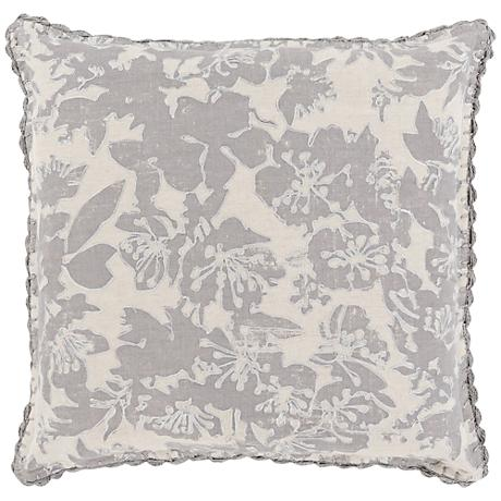 "Surya Evelyn Gray 18"" Square Throw Pillow"