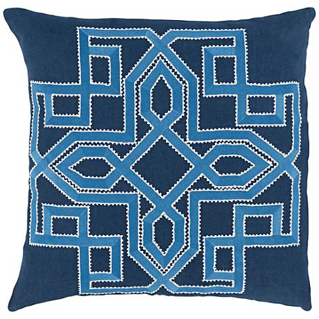"Surya Gatsby Blue 18"" Square Throw Pillow"