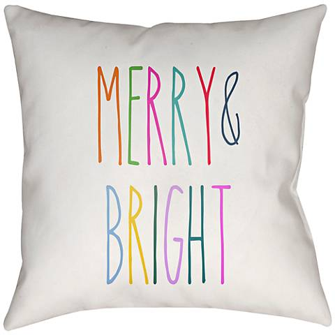 "Surya Merry Bright White 20"" Square Indoor-Outdoor Pillow"