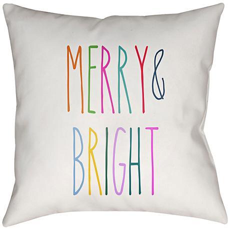 "Surya Merry Bright White 20"" Square Throw Pillow"