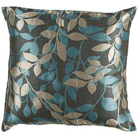 """Surya Wind Chime Green and Blue 22"""" Square Throw Pillow"""