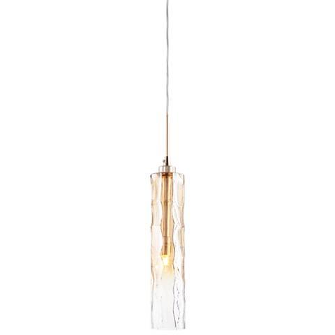 """Balanchine 2 3/4"""" Wide Amber Glass 1-Light Mini Pendant"""