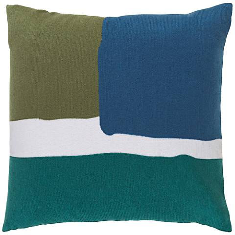 "Surya Harvey Green and Blue 18"" Square Throw Pillow"