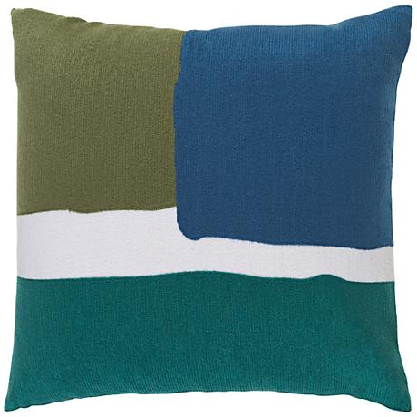 """Surya Harvey Green and Blue 18"""" Square Throw Pillow"""