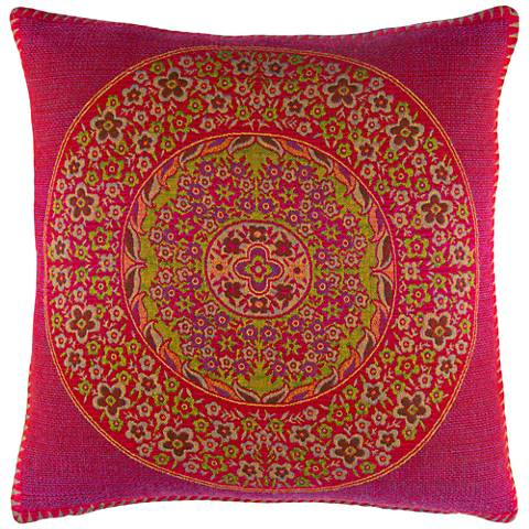 "Surya Indira Pink and Green 20"" Square Throw Pillow"