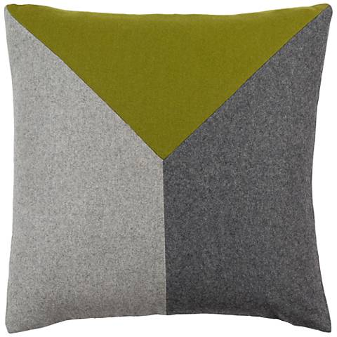 "Surya Jonah Green and Black 22"" Square Throw Pillow"