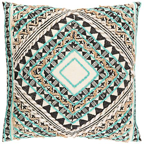 "Surya Kazinga Green and Brown 18"" Square Throw Pillow"