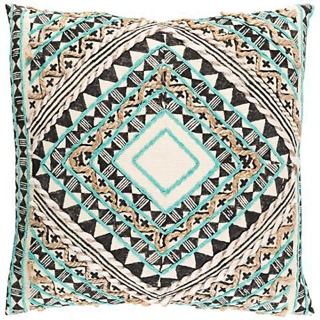 """Surya Kazinga Green and Brown 18"""" Square Throw Pillow"""