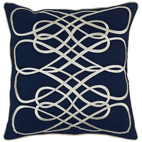 "Surya Leah Blue and Neutral 18"" Square Throw Pillow"