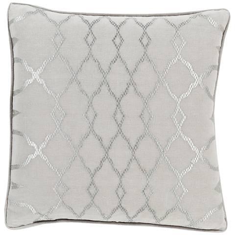 """Surya Lydia Neutral Geometric 18"""" Square Throw Pillow"""