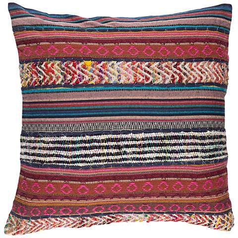 "Surya Marrakech Pink and Brown 20"" Square Throw Pillow"