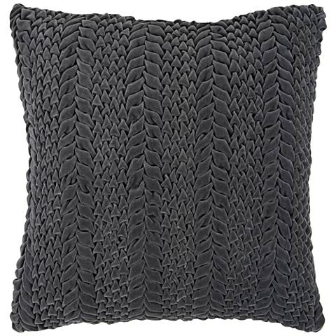 "Surya Velvet Luxe Gray 18"" Square Throw Pillow"