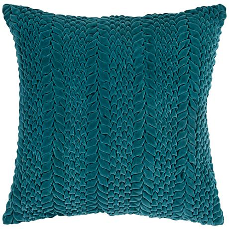 "Surya Velvet Luxe Striped Green 18"" Square Throw Pillow"