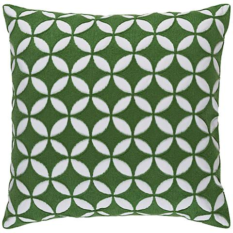 "Surya Perimeter Green and Neutral 18"" Square Throw Pillow"
