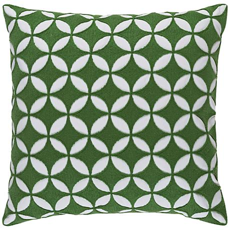 """Surya Perimeter Green and Neutral 18"""" Square Throw Pillow"""