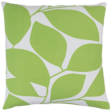 """Surya Somerset Green and Neutral 18"""" Square Throw Pillow"""