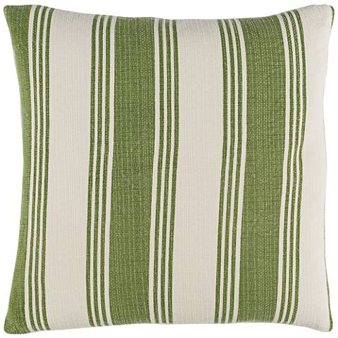 "Surya Anchor Bay Green and Neutral 18"" Square Throw Pillow"