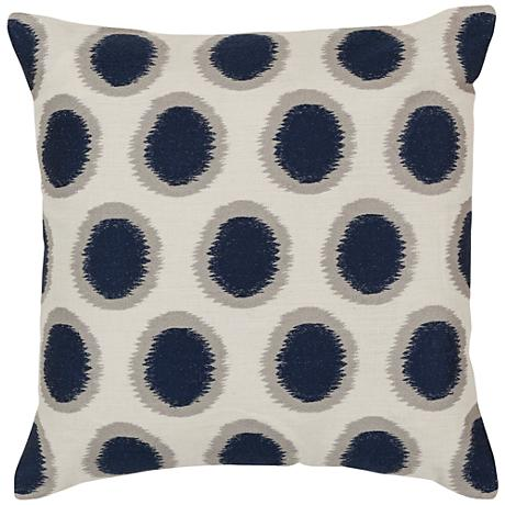 "Surya Ikat Dots Neutral and Blue 18"" Square Throw Pillow"
