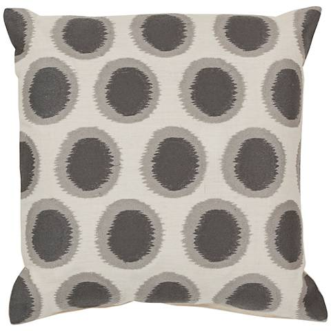 """Surya Ikat Dots Neutral and Gray 18"""" Square Throw Pillow"""