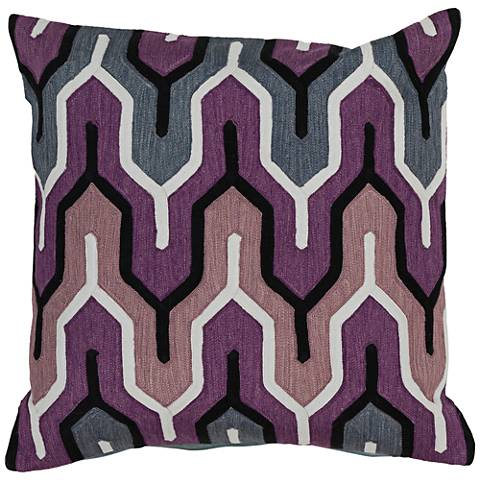 "Surya Aztec Blue and Purple 18"" Square Throw Pillow"