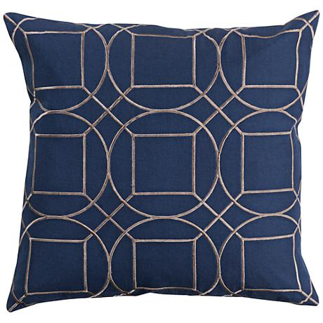 "Surya Skyline Blue and Gray 20"" Square Throw Pillow"