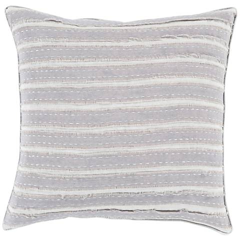"Surya Willow Gray 18"" Square Throw Pillow"