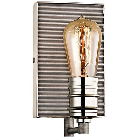 "Corrugated Steel 9""H Weathered Zinc and Nickel Wall Sconce"