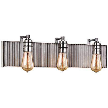 "Corrugated Steel 24""W Weathered Zinc and Nickel Bath Light"