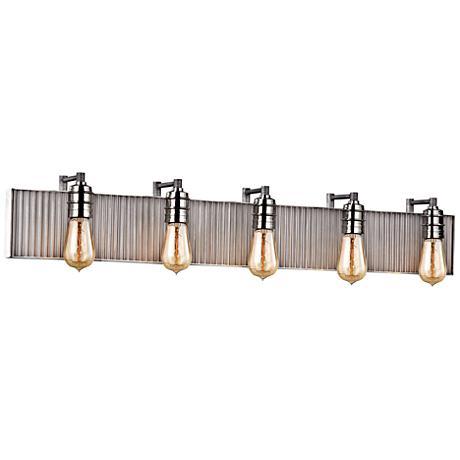 "Corrugated Steel 40""W Weathered Zinc and Nickel Bath Light"