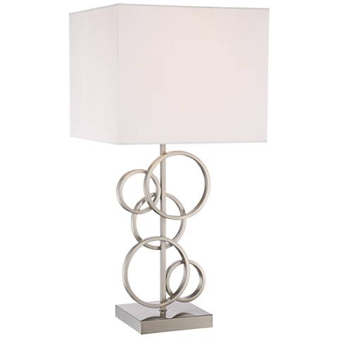 Saul Brushed Steel Rings Table Lamp