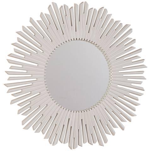 """Phoenix White 36"""" Sunburst Round Wall Mirror"""