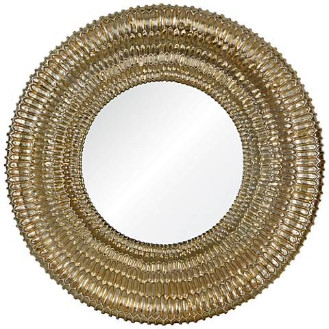 "Celine Gold 35 1/4"" Round Wall Mirror"