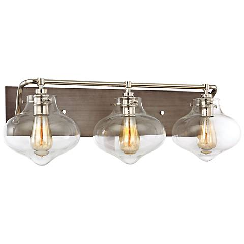"Kelsey 27""W Weathered Zinc and Polished Nickel Bath Light"