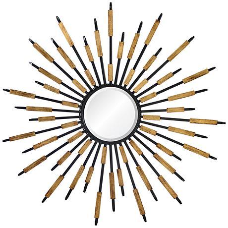 "Mercill Black 36"" Round Sunburst Wall Mirror"