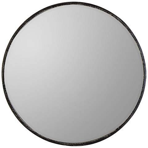 "Wythburn Gray 26"" Round Iron Wall Mirror"