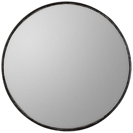 "Wythburn Gray 26"" Round Iron Wall Mirror"