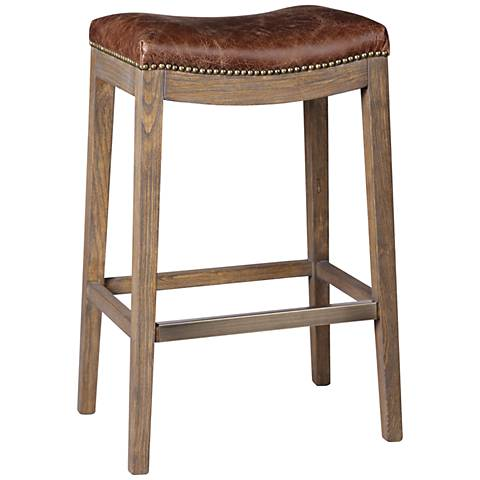 "Uttermost Cochran 30"" Chocolate Aniline Leather Barstool"